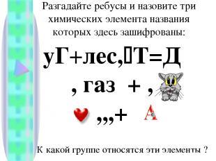 Разгадайте ребусы и назовите три химических элемента названия которых здесь заши