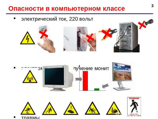 * Опасности в компьютерном классе электрический ток, 220 вольт электромагнитное излучение мониторов травмы