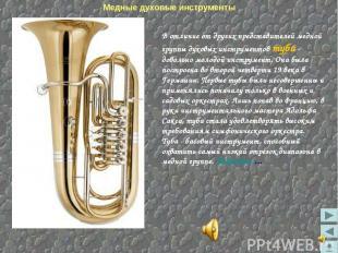 Медные духовые инструменты В отличие от других представителей медной группы духо