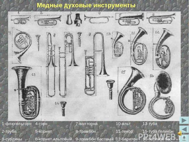 Медные духовые инструменты 1-флюгельгорн 2-труба 3-сурдины 4-горн 5-корнет 6-корнет альтовый 7-валторна 8-трамбон 9-трамбон басовый 10-альт 11-тенор 12-баритон 13-туба 15-туба геликон 16-геликон бас
