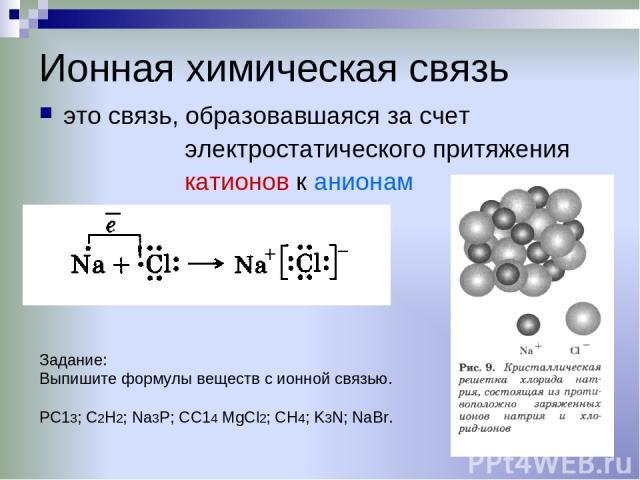 Ионная химическая связь это связь, образовавшаяся за счет электростатического притяжения катионов к анионам Задание: Выпишите формулы веществ с ионной связью. РС13; С2Н2; Na3P; СС14 MgCl2; СН4; K3N; NaBr.