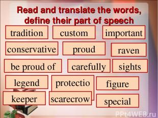 Read and translate the words, define their part of speech tradition custom impor