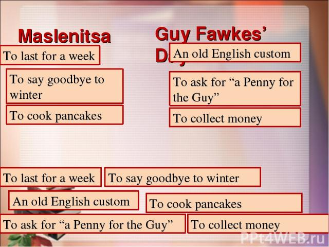 "Maslenitsa Guy Fawkes' Day To last for a week To last for a week An old English custom An old English custom To say goodbye to winter To say goodbye to winter To ask for ""a Penny for the Guy"" To ask for ""a Penny for the Guy"" To cook pancakes To cook…"
