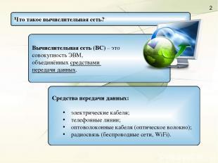 Вычислительная сеть (ВС) – это совокупность ЭВМ, объединённых средствами передач