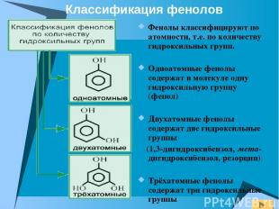 Фенолы классифицируют по атомности, т.е. по количеству гидроксильных групп. Одно
