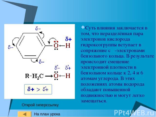 Суть влияния заключается в том, что неразделённая пара электронов кислорода гидроксогруппы вступает в сопряжение с π-электронами бензольного кольца. В результате происходит смещение электронной плотности в бензольном кольце к 2, 4 и 6 атомам углерод…