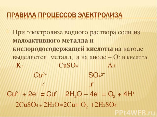 При электролизе водного раствора соли из малоактивного металла и кислородосодержащей кислоты на катоде выделяется металл, а на аноде – О2 и кислота. K- СuSO4 A+ Cu2+ SO4²ˉ ← → Cu2+ + 2e– = Cu0 2H2O – 4e– = O2 + 4H+ 2СuSO4 + 2H2O=2Сu+ O2 +2H2SO4