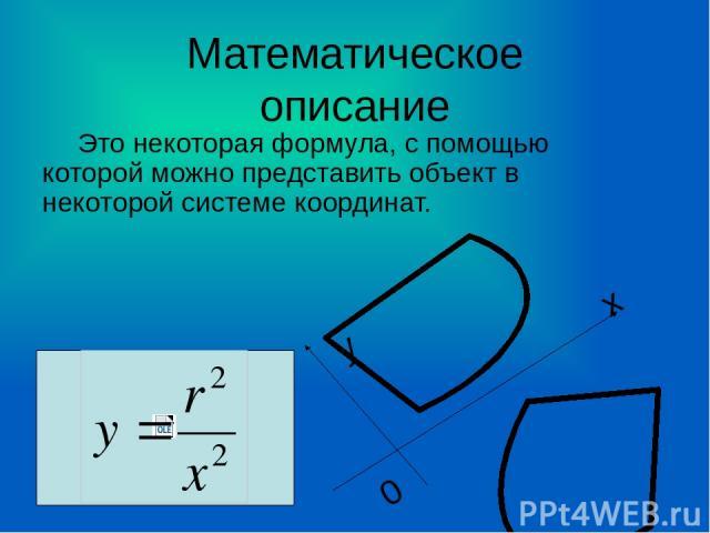 Математическое описание Это некоторая формула, с помощью которой можно представить объект в некоторой системе координат. х у 0