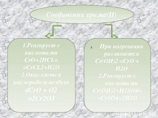 Соединения хрома(II) 1.Реагирует с кислотами CrO+2HCL= =CrCL2+H2O 2.Окисляется к