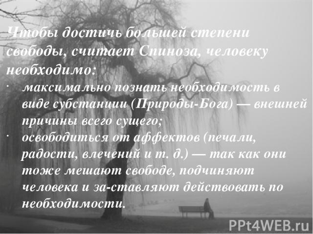 Чтобы достичь большей степени свободы, считает Спиноза, человеку необходимо: максимально познать необходимость в виде субстанции (Природы-Бога) — внешней причины всего сущего; освободиться от аффектов (печали, радости, влечений и т. д.) — так как он…