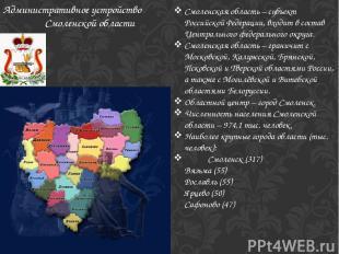 Смоленская область – субъект Российской Федерации, входит в состав Центрального