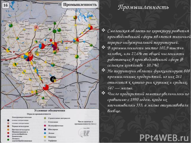 Промышленность Смоленская область по характеру развития производственной сферы является типичной аграрно-индустриальной территорией. В промышленности занято 102,9 тысячи человек, или 27,6% от общей численности работающих в производственной сфере (в …