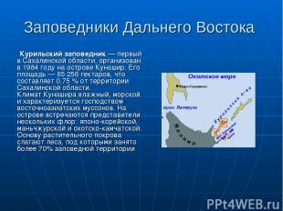 Заповедники Дальнего Востока Курильский заповедник — первый в Сахалинской област