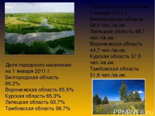 Плотность населения на 1 января 2011 г. Белгородская область 56,6 чел./кв.км. Ли