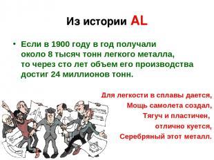 Из истории АL Еслив1900году вгод получали около8тысяч тонн легкого металла
