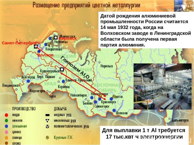 Санкт-Петербург Кировск Датой рождения алюминиевой промышленности России считается 14 мая 1932 года, когда на Волховском заводе в Ленинградской области была получена первая партия алюминия. Волхов Для выплавки 1 т Аl требуется 17 тыс.квт ч электроэн…