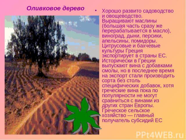 Хорошо развито садоводство и овощеводство. Выращивают маслины (большая часть сразу же перерабатывается в масло), виноград, дыни, персики, апельсины, помидоры. Цитрусовые и бахчевые культуры Греция экспортирует в страны ЕС. Исторически в Греции выпус…