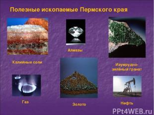 Полезные ископаемые Пермского края Калийные соли Золото Изумрудно-зелёный гранат