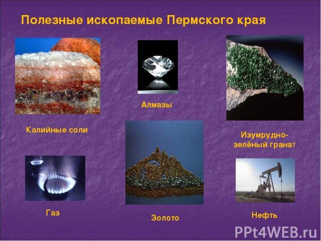 Полезные ископаемые Пермского края Калийные соли Золото Изумрудно-зелёный гранат Алмазы Газ Нефть