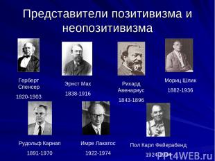 Представители позитивизма и неопозитивизма Герберт Спенсер 1820-1903 Эрнст Мах 1