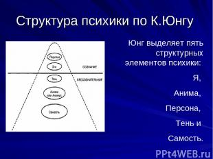 Структура психики по К.Юнгу Юнг выделяет пять структурных элементов психики: Я,