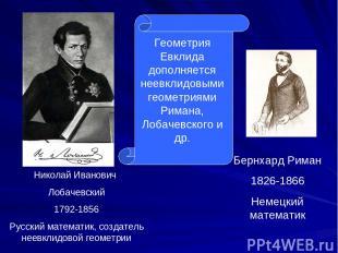 Бернхард Риман 1826-1866 Немецкий математик Николай Иванович Лобачевский 1792-18