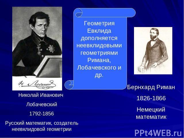 Бернхард Риман 1826-1866 Немецкий математик Николай Иванович Лобачевский 1792-1856 Русский математик, создатель неевклидовой геометрии Геометрия Евклида дополняется неевклидовыми геометриями Римана, Лобачевского и др.