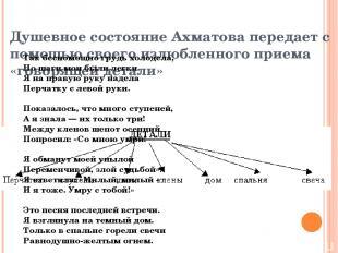 Душевное состояние Ахматова передает с помощью своего излюбленного приема «говор