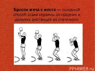 Бросок мяча с места — основной способ атаки корзины со средних и дальних дистанц