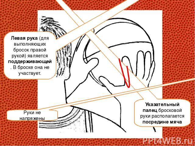 Указательный палец бросковой руки располагается посредине мяча Левая рука (для выполняющих бросок правой рукой) является поддерживающей. В броске она не участвует. Руки не напряжены