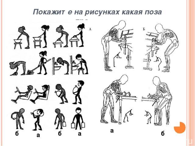 Покажите на рисунках где правильная осанка а б а б