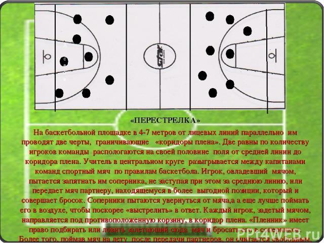 «ПЕРЕСТРЕЛКА» На баскетбольной площадке в 4-7 метров от лицевых линий параллельно им проводят две черты, граничивающие «коридоры плена». Две равны по количеству игроков команды распологаются на своей половине поля от средней линии до коридора плена.…