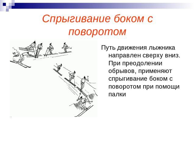 Спрыгивание боком с поворотом Путь движения лыжника направлен сверху вниз. При преодолении обрывов, применяют спрыгивание боком с поворотом при помощи палки