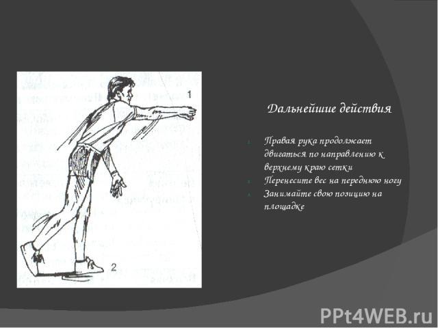 Выполнение Подбросьте мяч перед правым плечом Подбрасывая, не подкручивая его Мяч подбрасывайте одной рукой Мяч должен взлетать поближе к корпусу Сделайте правой рукой замах, высоко держа локоть Рука идет рядом с ухом Бейте по мячу подушечкой ладони…