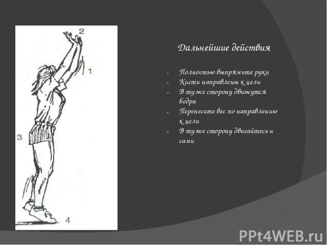 Выполнение Коснитесь мяча полностью вытянутой рукой. Коснитесь мяча напротив бьющего плеча. Коснитесь мяча ладонью. Коснитесь нижней половины мяча. Быстро сожмите запястье. Направьте руку поверх мяча.