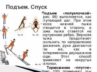Подъем «полуелочкой» (рис. 99) выполняется, как ступающий шаг. При этом носок ни