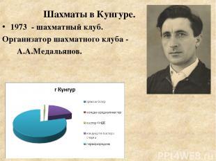 1973 - шахматный клуб. Организатор шахматного клуба - А.А.Медальянов. Шахматы в