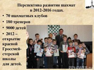 70 шахматных клубов 180 тренеров 9000 детей 2012 – открытие краевой Гроссмей- ст