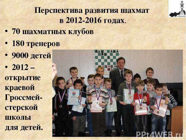 70 шахматных клубов 180 тренеров 9000 детей 2012 – открытие краевой Гроссмей- стерской школы для детей. Перспектива развития шахмат в 2012-2016 годах.
