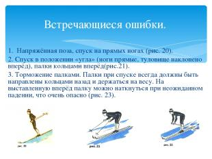 Встречающиеся ошибки. 1. Напряжённая поза, спуск на прямых ногах (рис. 20). 2. С