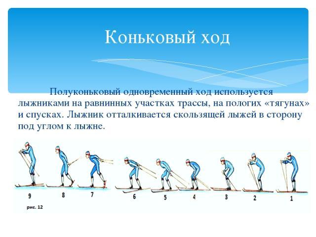 Коньковый ход Полуконьковый одновременный ход используется лыжниками на равнинных участках трассы, на пологих «тягунах» и спусках. Лыжник отталкивается скользящей лыжей в сторону под углом к лыжне.