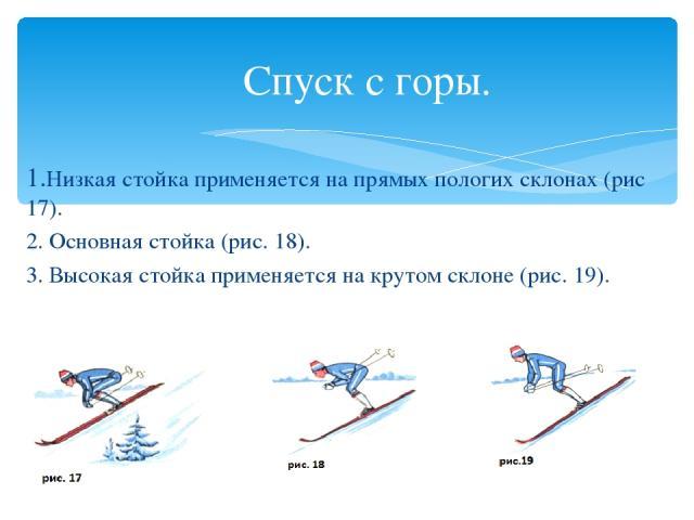 Спуск с горы. 1.Низкая стойка применяется на прямых пологих склонах (рис 17). 2. Основная стойка (рис. 18). 3. Высокая стойка применяется на крутом склоне (рис. 19).