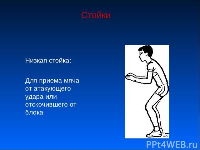 Стойки Низкая стойка: Для приема мяча от атакующего удара или отскочившего от блока