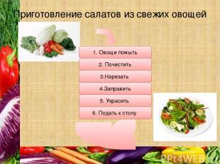 Приготовление салатов из свежих овощей 1. Овощи помыть 2. Почистить 4.Заправить