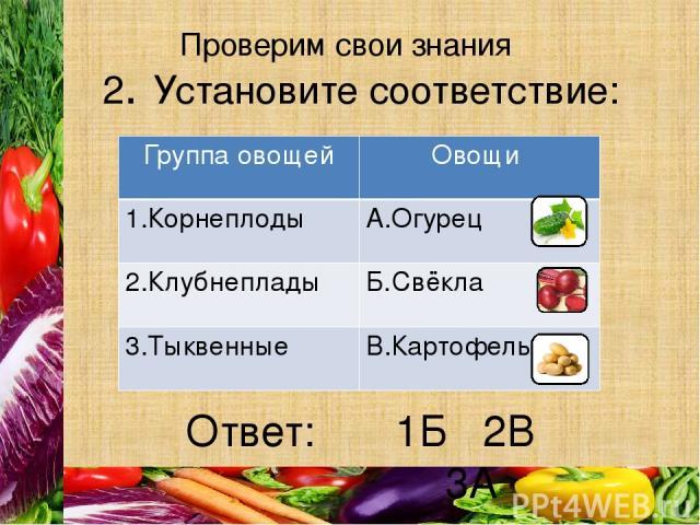 Проверим свои знания Ответ: 2. Установите соответствие: 1Б 2В 3А Группа овощей Овощи 1.Корнеплоды А.Огурец 2.Клубнеплады Б.Свёкла 3.Тыквенные В.Картофель
