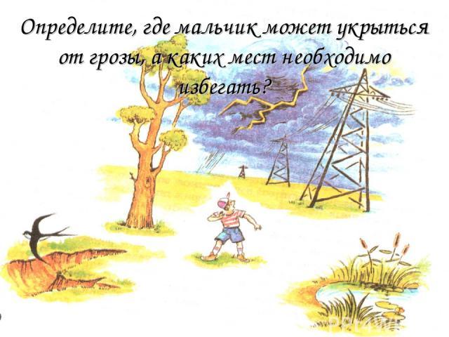Определите, где мальчик может укрыться от грозы, а каких мест необходимо избегать?