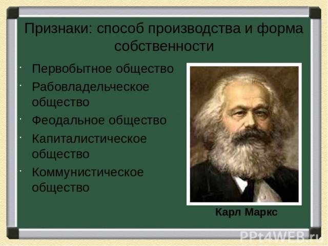 Признаки: способ производства и форма собственности Первобытное общество Рабовладельческое общество Феодальное общество Капиталистическое общество Коммунистическое общество Карл Маркс