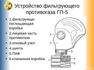 Устройство фильтрующего противогаза ГП-5 1.фильтрующе-поглощающая коробка 2.лице