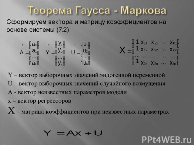 Сформируем вектора и матрицу коэффициентов на основе системы (7.2) Y – вектор выборочных значений эндогенной переменной U – вектор выборочных значений случайного возмущения A - вектор неизвестных параметров модели х – вектор регрессоров X – матрица …
