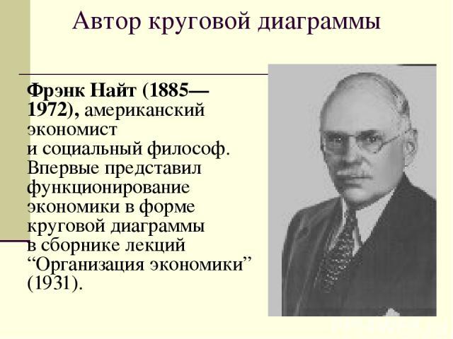 """Автор круговой диаграммы Фрэнк Найт (1885—1972), американский экономист и социальный философ. Впервые представил функционирование экономики в форме круговой диаграммы в сборнике лекций """"Организация экономики"""" (1931)."""